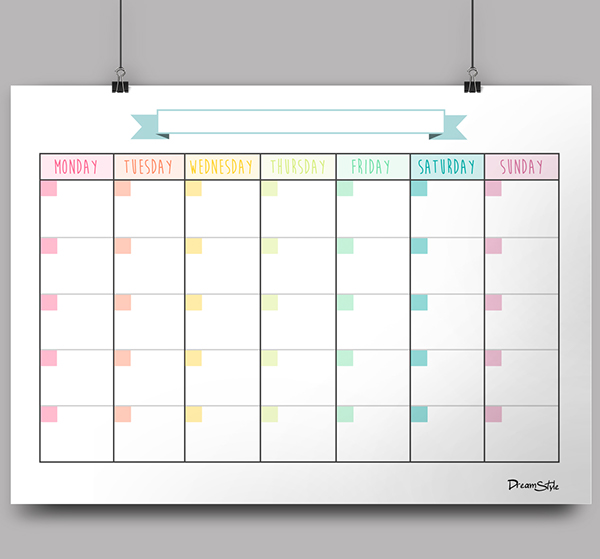 Weekly Calendar No Dates : Blank monthly planner template