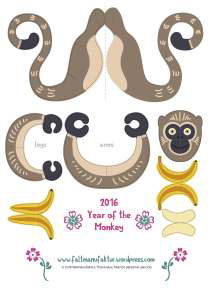 paper toy chinese new year paper art paper craft paper Engineering  freebie toy monkey