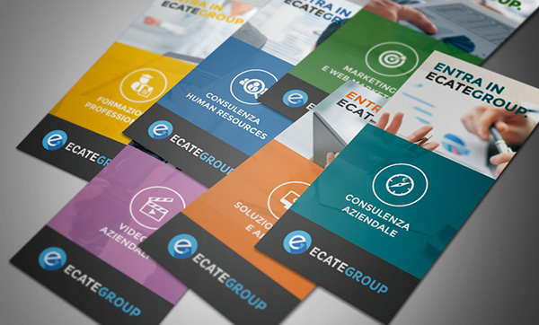 Ecate ecategroup brochure flyer logo business card brand modern flat Icon icons Logotype job services blue
