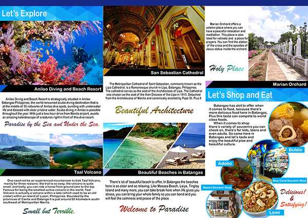 Proposed Travel Brochure For Batangas Philippines On Student Show