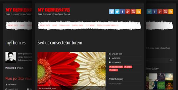 black custom features dark theme depressive Free Template free wordpress theme minimalist red wordpress Theme