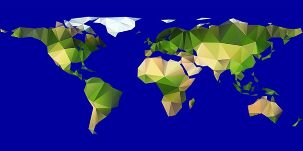 Vector polygon world map on behance triangle polygon world map in full vector editable gumiabroncs Images