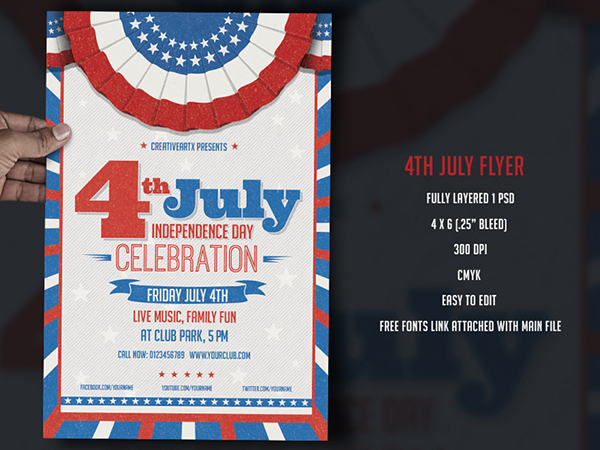 Th July  Independence Day Flyer Template On Behance