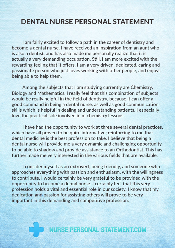 Help with writing a personal statement dentistry