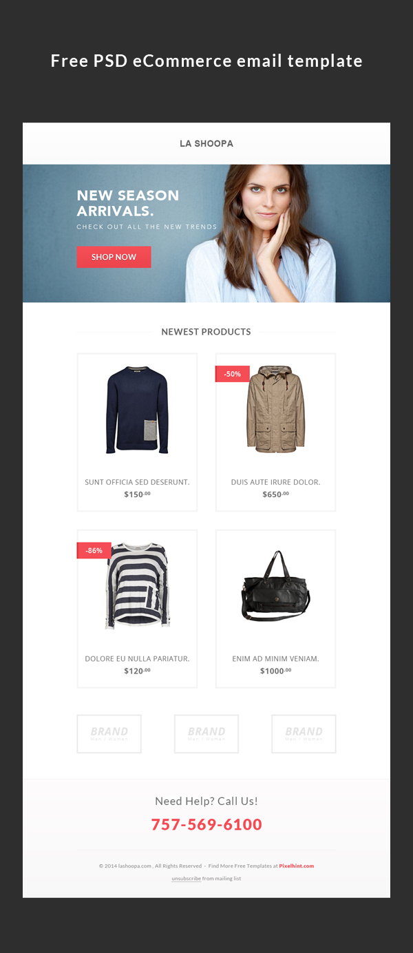 Freebies Tutorial Ecommerce Email Template On Behance
