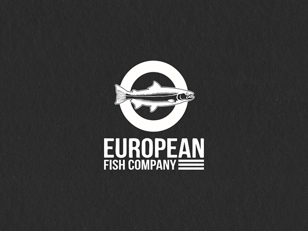 European fish company branding on student show for European design firms