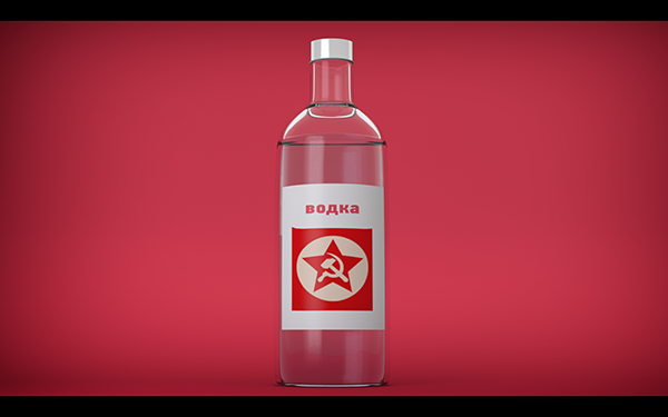 Vodka russian modo model 3D red ccccp photoshop Render