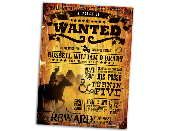 Wanted Poster Birthday Invitation on Behance – Wanted Invitation