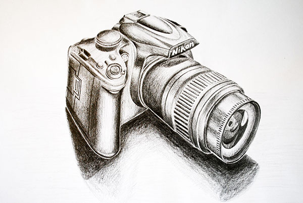Drawing Study Of A Nikon D3000 Camera The Aim Project Was To Demonstrate Knowledge Perspective Combined With Manual Rendering Techniques