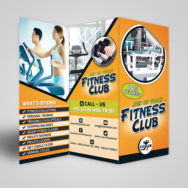 Fitness Club Trifold Brochure & Business Card Template On Behance