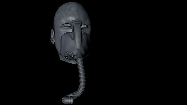 Mechanoid mask self-portrait wip work in progress