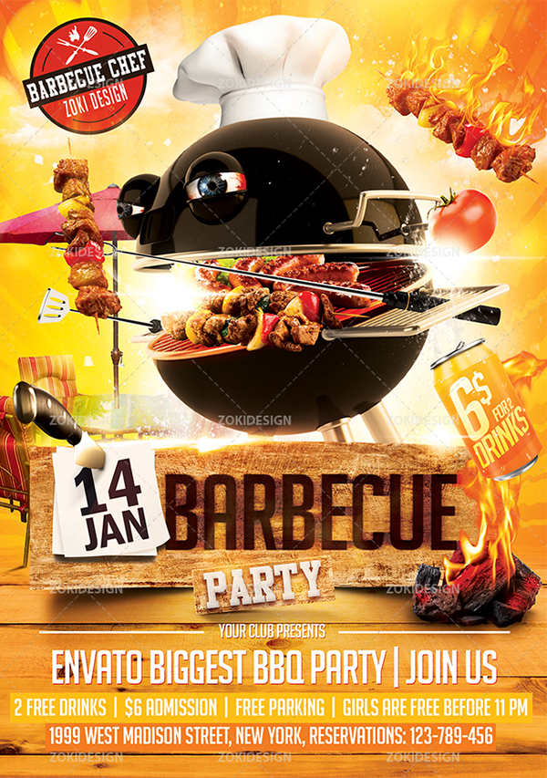 Barbecue party flyer template on behance for Cookout flyer templates
