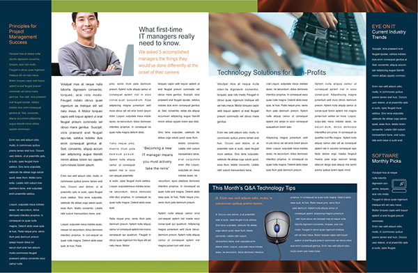 tech times newsletter layout 2 pages on behance