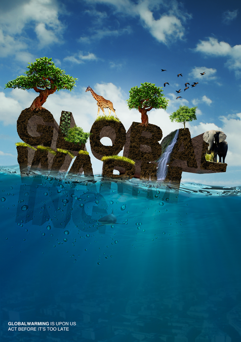 global warming climate change poster ad sea water earth CO2