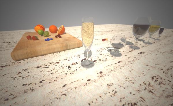 glassware Stemware rendering Render material texture Maxwell Rhino 3D model model still life Fruit Champagne wine cutting borad displacement