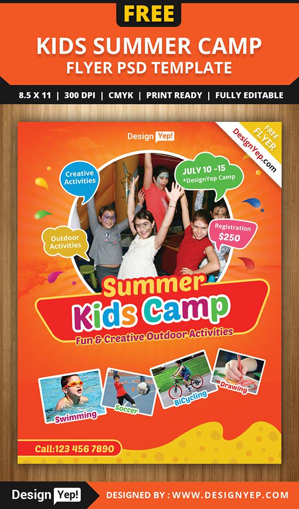 Free Kids Summer Camp Flyer Psd Template On Behance