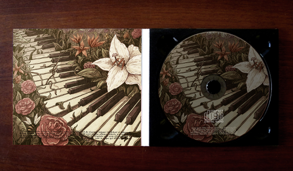 Piano cover CD cover gatotonto Flowers Nature vintage romantic keyboard plants