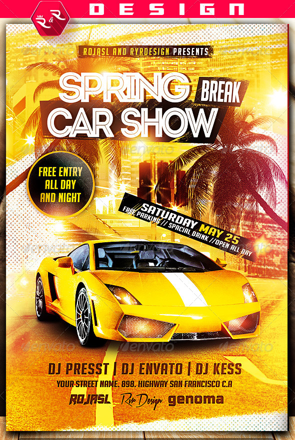 Spring Break Car Show Flyer on Behance