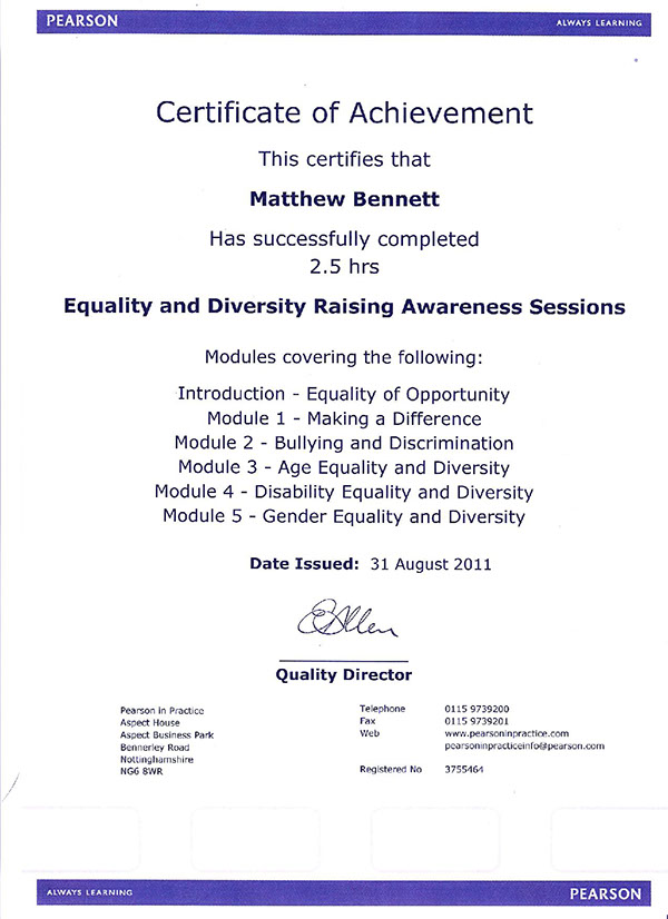 level 2 certificate in equality Equality & inclusion within hsc is vital to ensuring people's differences are  valued & that  level 2 diploma in health and social care (adults) for england.