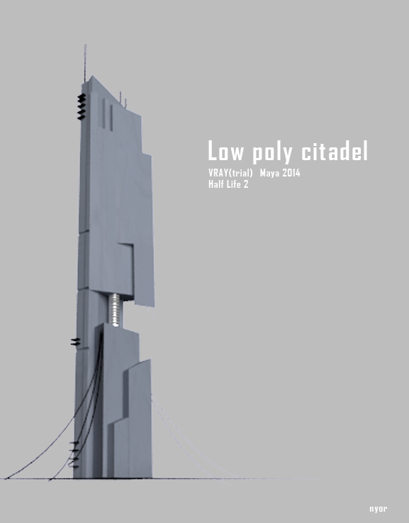 3d low poly citadel half life 2 on behance for Half life 2 architecture
