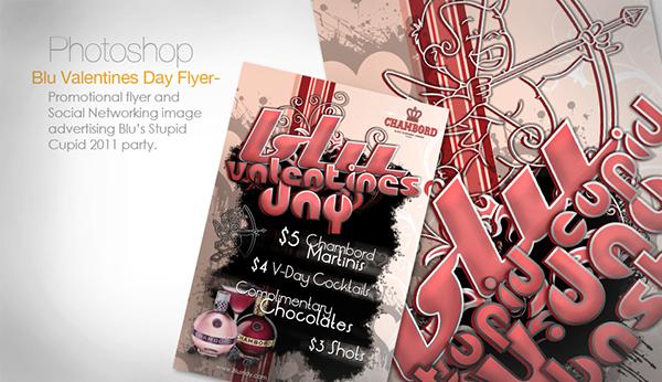 Valentine's Day Blu Lounge bar nightclub flyer