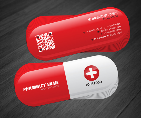 Creative pharmacist business card on behance creative and clean pharmacist business card in rounded die cut editable text layers or colors shape layers in easy way colourmoves