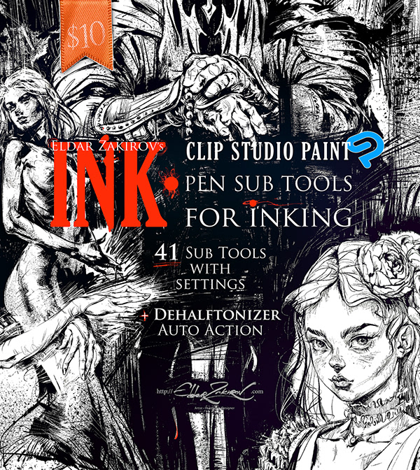 INK  for Clip Studio Paint: 41 Sub tools for Inking on Pantone