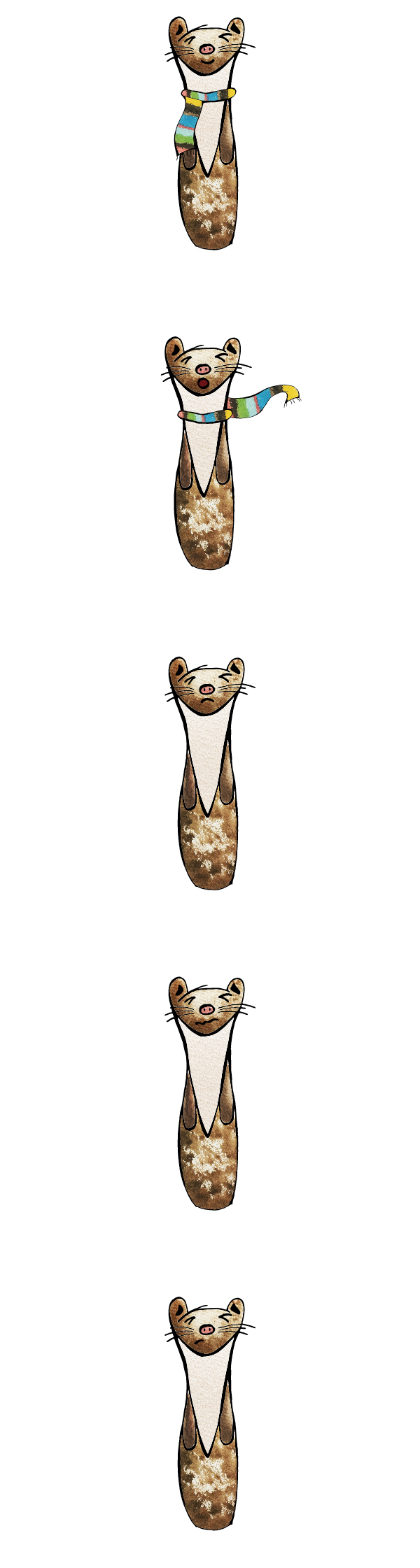 weasel ILLUSTRATION  graphic kids sketch line drawing scarf watercolour paint design