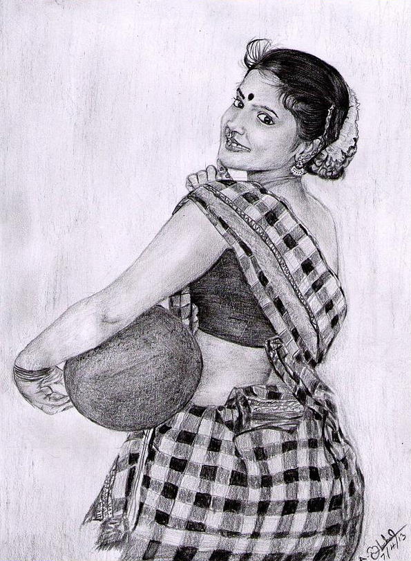 Village girl pencil art work on behance