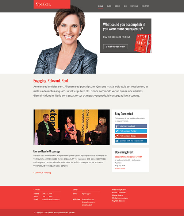 Speaker Author Website Template On Behance