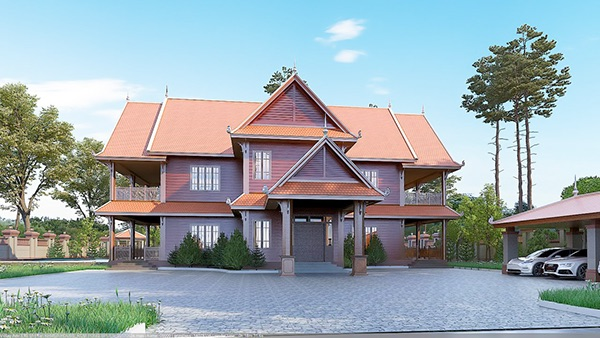 Khmer villa graphic design architecture interior design