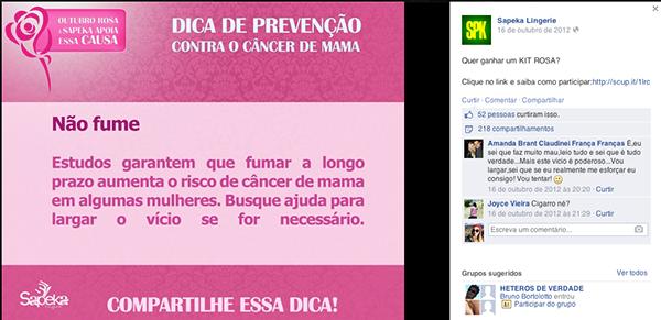 8c78ad3ca Campanha Sapeka Lingerie - Outubro Rosa. Afim de apoiar a prevenção do  Câncer de Mama