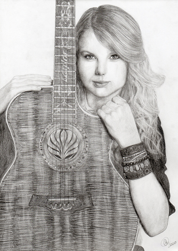 A pencil drawing of Taylor Swift.