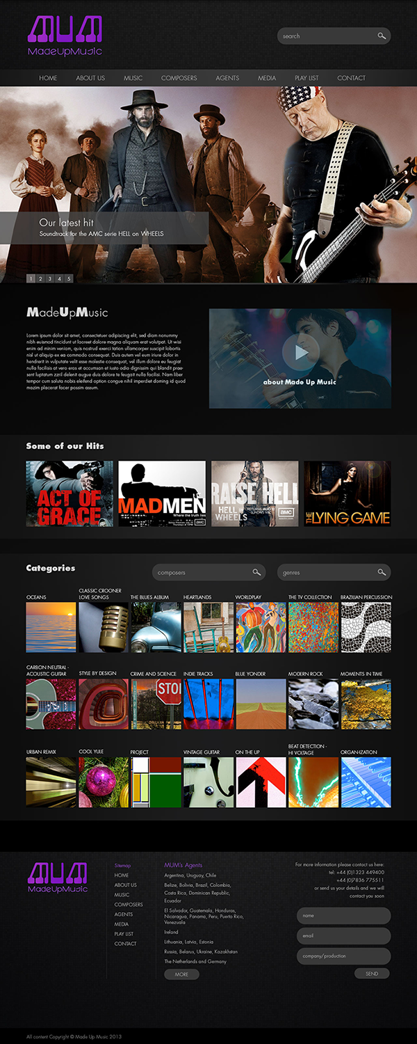 Website for TV Music production company on Wacom Gallery