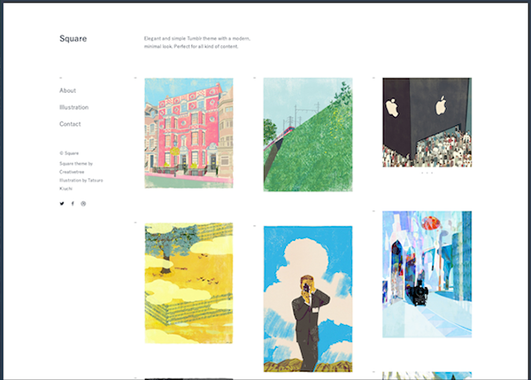 Square Tumblr theme on Behance