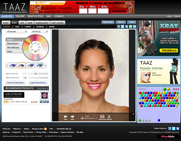 TAAZ.com and Virtual Makeover Tool (2010) on Behance