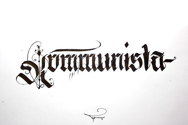 irinel papuc Typomonger HAND LETTERING Custom Lettering pilot parallel pen 6.0mm calligraffiti written brand handwritten