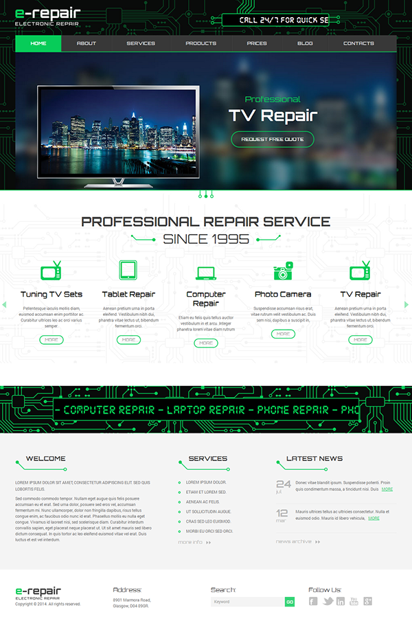 Electronic Repair Wordpress Template on Behance