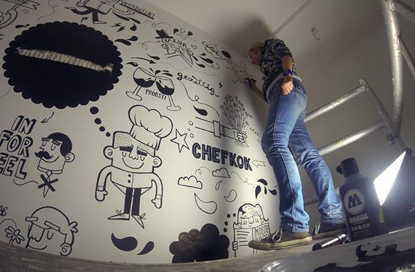 Mural Restaurant Quot Ongedwongen Quot On Behance