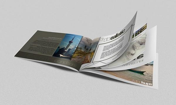Brochure mockups a4 horizontal on behance for Horizontal brochure design