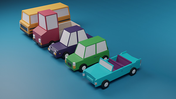 3D low poly cars