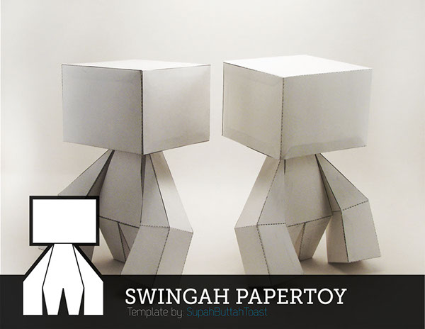 This Is The Swingah Paper Toy Stands In At 6 Inches Tall And Equipped With Moving Swingable Arms