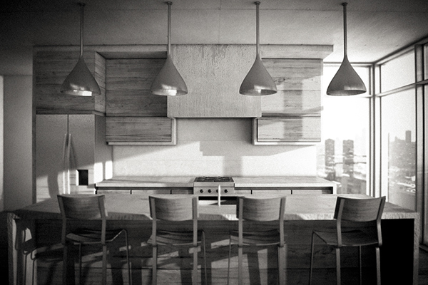 One Point Perspective Kitchen On Behance