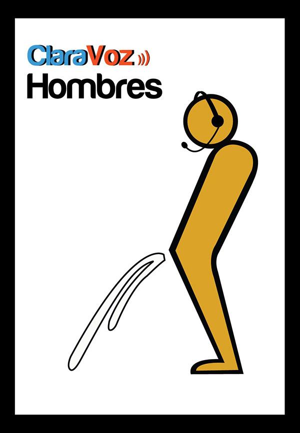 Imagen De Baño Hombre:Iconografía utilizada para el baño de hombres de la empresa CLARAVOZ