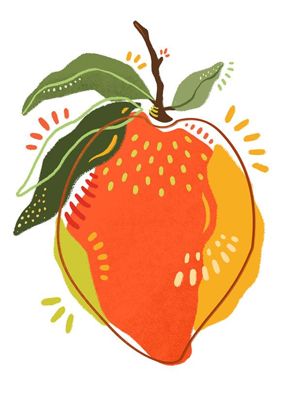 Juicy mango Illustration and pattern design