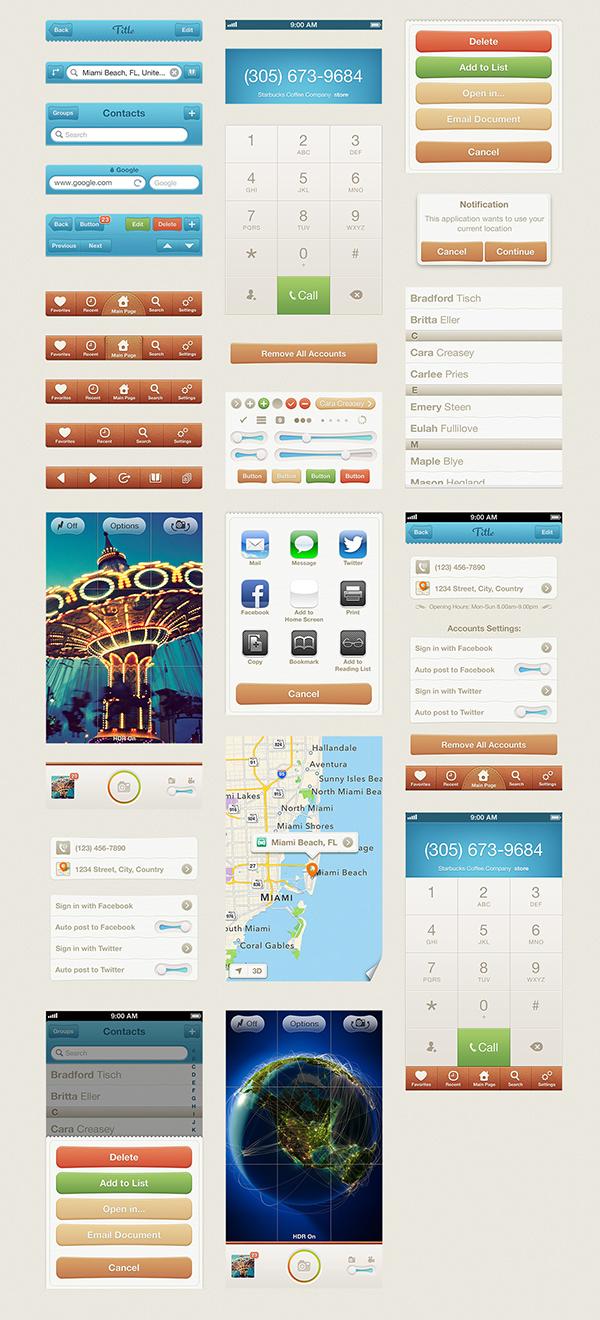 iphone  UI  kit  mobile  app design  pixelkit