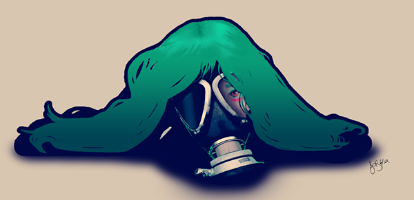 layer green gas mask digital photomanip female