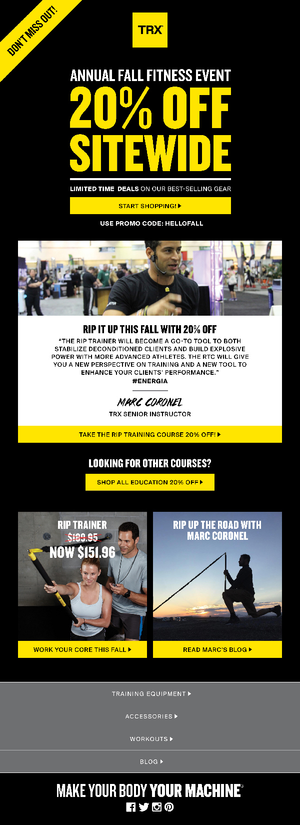 Trx Fall Fitness Sale Emails On Behance