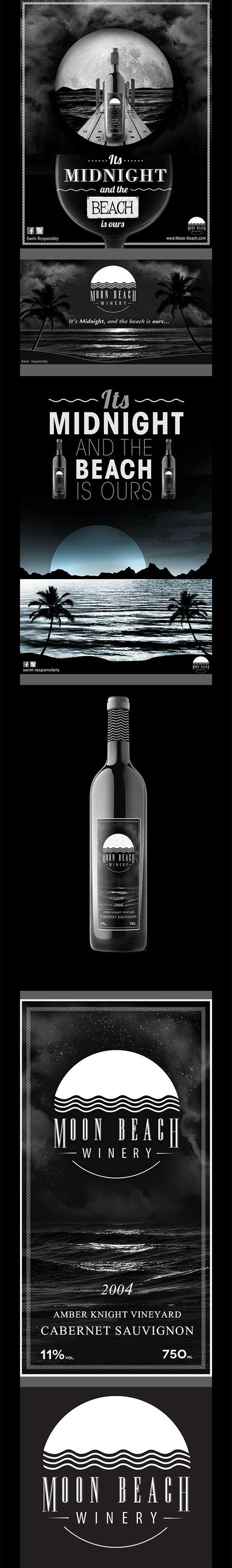 wine ad black and white moon beach