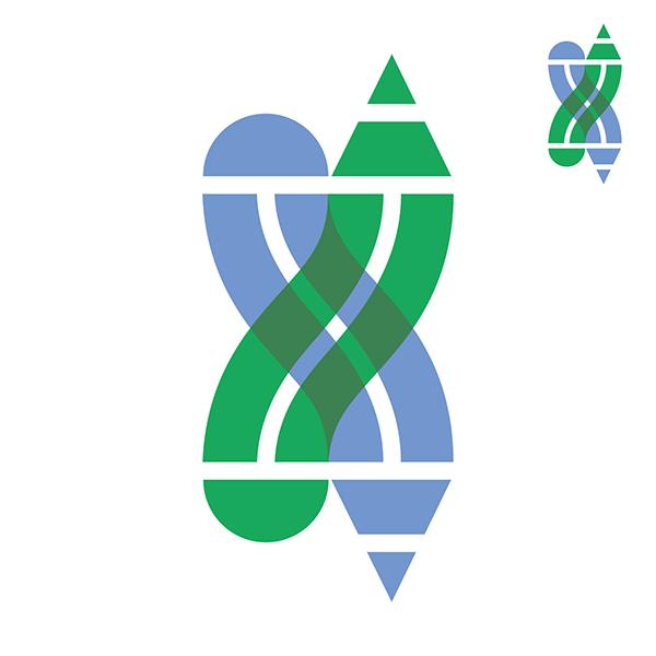 logo pencil bridge overprint intertwine overlap